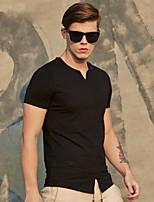 WILSHEMON® Men's V Neck Short Sleeve T Shirt Black / White / Dark Blue-18081