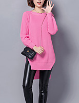 Women's Casual/Daily Street chic Long Pullover,Solid Red / Black Round Neck Long Sleeve Cotton Winter Medium