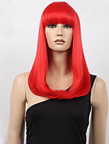 Middle Long Bob High Quality Synthetic Red Straight Hair Synthetic Wig With Full Bang