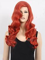 alta calidad atractiva pelo sintético peluca cosplay de la mujer ondulado largo animado de la peluca sintética de color naranja costom