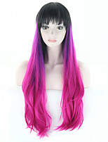 Fashion Long Wavy Ombre Wig 3 Tone Dip Dye Ombre Hair Wigs for Women Black Purple Rose Gradient Hair