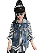 Jeans / Gilet Girl Casual Collage Cotone Autunno / Primavera Blu