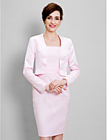 Women's Wrap Shrugs Long Sleeve Satin Blushing Pink Wedding / Party/Evening Wide collar 39cm Lace Open Front