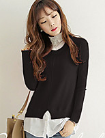 Women's Casual/Daily Simple Regular Pullover,Solid Pink / Black / Gray / Green Shirt Collar Long Sleeve Cotton Medium