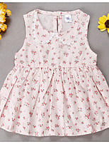 Girl's Casual/Daily Floral Dress,Cotton Spring / Fall Blue / Red