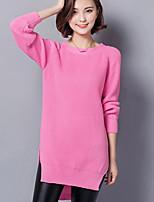 Damen Lang Pullover-Ausgehen / Lässig/Alltäglich Einfach Solide Rosa / Schwarz Rundhalsausschnitt Langarm Baumwolle Herbst Mittel