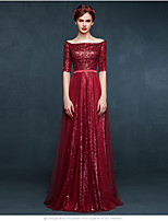 Formal Evening Dress A-line Bateau Floor-length Tulle / Sequined with Sequins