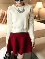 Damen Standard Pullover-Lässig/Alltäglich Einfach Solide Rot / Weiß Rundhalsausschnitt Langarm Baumwolle Herbst Mittel