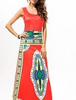In Farbe Damen Rundhalsausschnitt Ärmellos Maxi Kleid-5523
