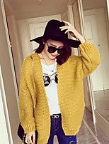 Women's Going out / Cute Regular Cardigan,Solid Blue / Red / Yellow V Neck Long Sleeve Cotton Spring / Fall Medium