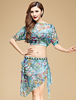 Belly Dance Outfits Women's Performance Tulle Pattern/Print 2 Pcs Light Blue / Light Green / Red Half Sleeve Top / Skirt