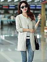 Women's Casual Simple Regular Cardigan,Polka Dot V Neck Long Sleeve Cotton Fall Medium Micro-elastic