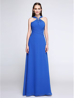 Lanting Bride®Floor-length Chiffon Bridesmaid Dress - Color Block Sheath / Column V-neck with Crystal Detailing / Criss Cross / Ruching