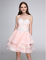 TS Couture® Cocktail Party Dress A-line Sweetheart Short / Mini Organza with Appliques / Beading