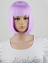 estilo de la peluca recta de moda de Halloween pelucas de pelo sintético barato cortos plena sacudida para cosplay de color púrpura /