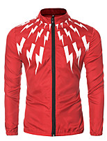Men's Long Sleeve Casual / Sport JacketCotton / Polyester Print Black / Blue / Red / White