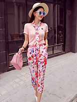 Boutique S Women's Going out Sexy / Cute Spring / Winter Set Pant,Print Halter Short Sleeve Pink Polyester Opaque/Set
