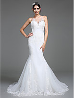 Lanting Bride® Trumpet / Mermaid Wedding Dress Chapel Train Jewel Tulle with Appliques / Button