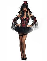Costumes Zombie / Vampire / Ange et Diable Halloween / Noël / Carnaval / Nouvel an Noir / Rouge vin Vintage TérylèneRobe / Gants /