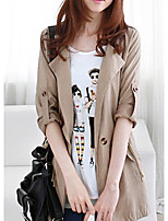 Women's Casual/Daily Simple Trench Coat,Solid Deep V ½ Length Sleeve Fall Pink Spandex Medium