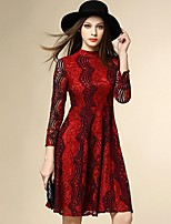 Boutique S Women's Going out Street chic Lace Dress,Patchwork Crew Neck Knee-length Long Sleeve Red Polyester Fall
