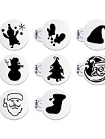 8Pcs Christmas Cake Stencil Cake Decorating Stencil for Cookie Cupcake Stencil ST-850