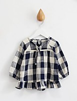 Girl's Casual/Daily Plaid Blouse,Cotton Spring / Fall Blue