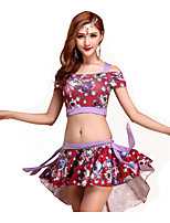 Belly Dance Outfits Women's Training Modal Pattern/Print 3 Pieces Belly Dance Short Sleeve DroppedTop / Skirt /