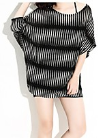 Women's Plus Size Simple / Street chic Long Pullover,Striped Black Round Neck ½ Length Sleeve Polyester  Thin
