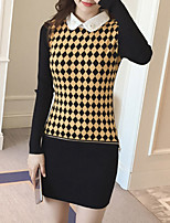 Women's Casual/Daily Simple Regular Cardigan,Geometric / Color Block Yellow Round Neck Long Sleeve Polyester Fall Medium