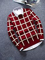 Herren Standard Pullover-Lässig/Alltäglich Einfach Schachbrett Blau Rot Weiß Schwarz Rundhalsausschnitt Langarm Wolle Herbst Winter Mittel