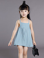 Girl's Beach Solid DressPolyester Summer Blue / Green