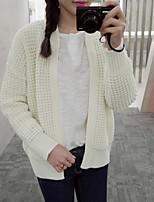 Women's Going out / Cute Regular Cardigan,Solid White / Black Stand Long Sleeve Linen Spring / Fall Medium