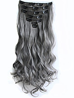 clipe de cinza no cabelo extensões 7pcs / set 22inch 56 centímetros longa peruca cabelo extensão sintética resistente ao calor ondulado