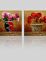 JAMMORY Canvas Set Landscape ,Two Panels Gallery Wrapped, Ready To Hang Vertical Print No Frame Red Flower
