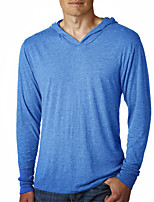 Men's Solid Casual / Plus Size T-Shirt,Cotton / Acrylic Long Sleeve-Black / Blue / White / Gray