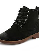 Черный / Желтый-Женский-На каждый день-Свиная кожа-На плоской подошве-Удобная обувь-Ботинки