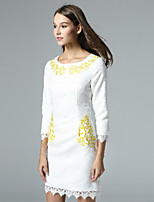 Boutique S Women's Casual/Daily Vintage Shift Dress,Embroidered Round Neck Above Knee ¾ Sleeve White Polyester Fall