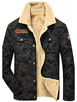 Men's Long Sleeve Casual / Work / Formal Jacket,Cotton Camouflage Black / Beige