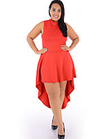 Women's Plus Size / Casual/Daily Sexy Loose Dress,Solid Round Neck Maxi Sleeveless Red / Orange Polyester Summer