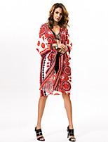 # Damen Rundhalsausschnitt 1/2 Länge Ärmel Pullover & Cardigan Rot-0523
