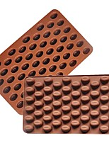 1 pc 55 Holes Coffee Bean Shape Chocolate Mold Silicone 3D Coffee Beans Chocolate Mold Non-Stick  Cake Mold