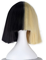Melanie Martinez Women Synthetic Short Straight Half Blonde and Black Color Cosplay Costume Wig