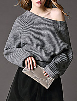 Women's Casual/Daily Street chic Regular Pullover,Solid Brown / Gray Off Shoulder Long Sleeve Cotton All Seasons Medium