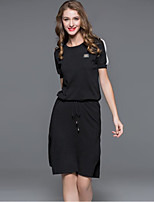 Boutique S Going out / Casual/Simple / Cute Loose Dress,Solid Round Neck Knee-length Short Sleeve BlackCotton