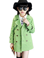 Girl's British Style Solid Trench Coat