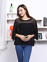 Women's Casual/Daily Simple Short Pullover,Solid White / Black / Gray Round Neck ¾ Sleeve Rayon Fall Thin