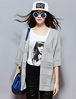 Sybel Women's Going out / Casual/Daily / Chinoiserie Regular Cardigan,Solid Gray V Neck ½ Length Sleeve RayonSummer