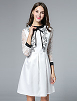 Boutique S Women's Casual/Daily Cute A Line Dress,Embroidered Crew Neck Above Knee ¾ Sleeve White Polyester Fall