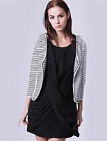 Mara Carol® Dames V-hals Lange mouw Trui & Vest Zwart en wit-1520127